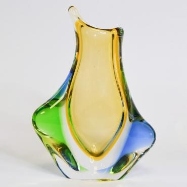 Zöld-kék-okker sárga üvegváza