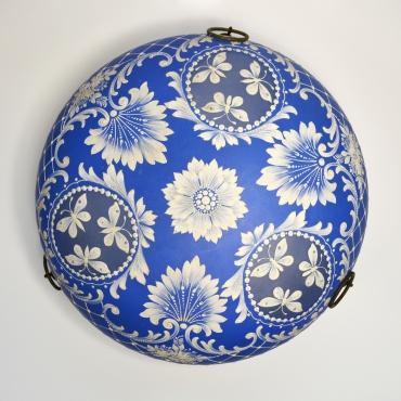 Barokk motívumos kék lámpabúra