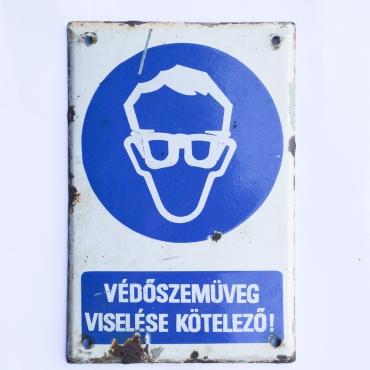 Zománctábla -Védőszemüveg...