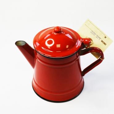 Piros zománcos vízmelegítő...